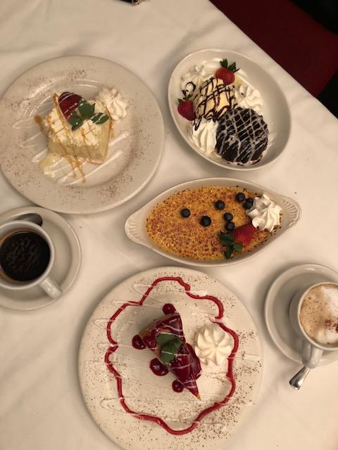 Dessert selection: Chocolate cake, creme brulee, cheesecake.